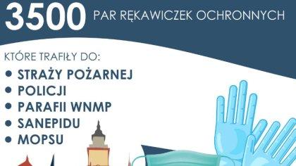 Ostrów Mazowiecka - Włodarz miasta Jerzy Bauer przekazał 3500 par rękawiczek och