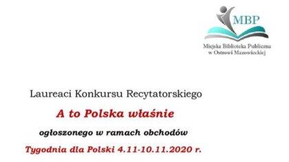 Ostrów Mazowiecka - Wyłoniono zwycięzców w konkursie recytatorskim zorganizowany