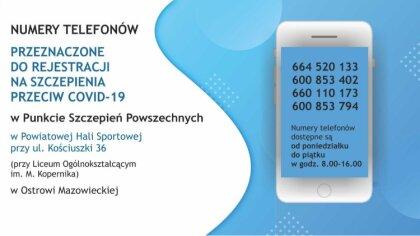 Ostrów Mazowiecka - Możesz telefonicznie zarejestrować się na szczepienie przeci