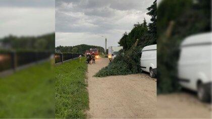 Ostrów Mazowiecka - Spadające drzewo po przejściu burzy zerwało linie elektryczn