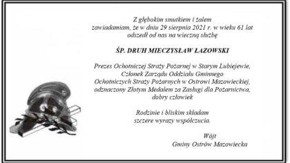 Ostrów Mazowiecka - Zmarł Prezes Ochotniczej Straży Pożarnej w Starym Lubiejewie